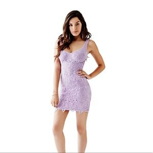 Guess Lace Overlay Dress Lilac Size 4